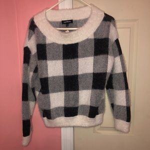 Express sweater gingham sweater black and white